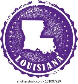 Vintage Style Louisiana USA State Stamp