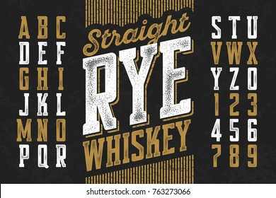 Vintage style modern font, straight rye whiskey simple label design, vector illustration