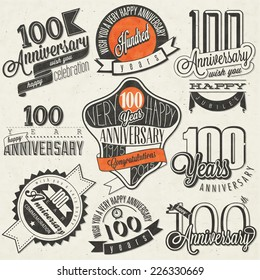 Vintage style One Hundred anniversary collection. Retro Hundred anniversary design. Vintage labels for anniversary greeting. Hand lettering style typographic and calligraphic symbols for Centenary