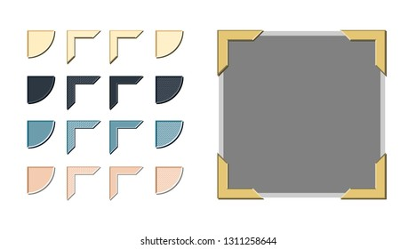 Vintage style photo corners vector with a variety of style and color options