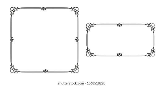 Vintage style. Photo frame. Classic ornament. Simple design. Square black frame