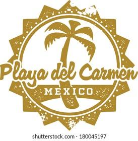 Vintage Style Playa del Carmen Mexico Vacation Stamp