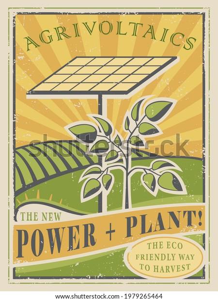 Un cartel de estilo vintage sobre tecnología agrivoltaica