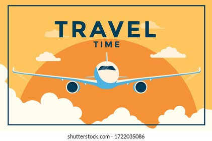 A vintage style poster with a Airplane and clouds. Travel time poster flat design. Vector Illustration