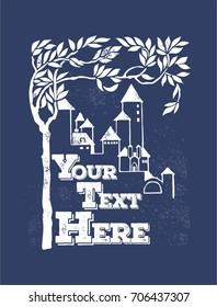 Vintage Style Poster with old castle and tree for greeting card, Book cover of Fairy Tales other print or any wallpaper
