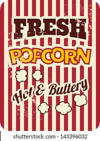 Vintage style poster with popcorn.