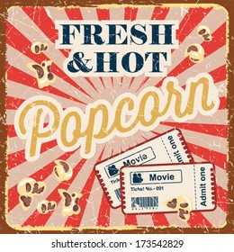 Vintage style poster with popcorn, movie time concept