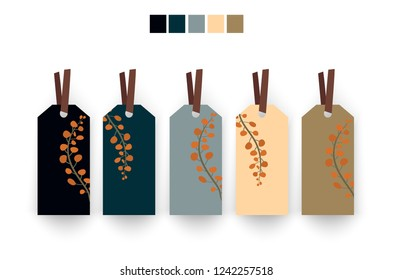 Vintage style price tag label tied with knots 5 pieces set collection blank Tag design hand drawn leaves pattern color tones empty copy space for use.Vector illustration