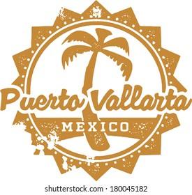 Vintage Style Puerto Vallarta Mexico Vacation Stamp