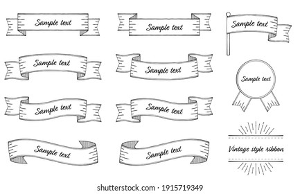 Vintage style ribbon illustration set (vector, white background, cut out)