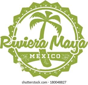 Vintage Style Riviera Maya Mexico Vacation Stamp