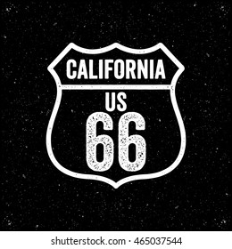 Vintage style route sixty six California road sign. Retro style.