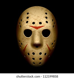 Vintage style scary Goalie mask. Vector.