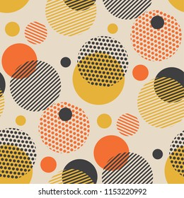Vintage style scattered circle geometry seamless pattern. Vector illustration surface design for print and web. Fun and dynamic repeatable fabric sample.
