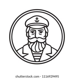 Vintage style sea captain drawing. Sailor or fisherman portrait with beard, vector line art illustration.
