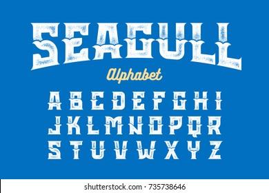 Vintage Style Seagull typeface, alphabet vector illustration