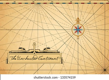Vintage style sea/land map guidelines with compass and text area.
