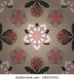 Vintage style. Seamless pattern of abstrat flowers in beige, pink and green colors. Stock vector illustration.