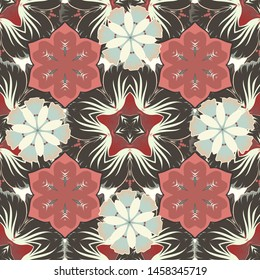 Vintage style. Seamless pattern of abstrat flowers in gray, beige and pink colors. Stock vector illustration.