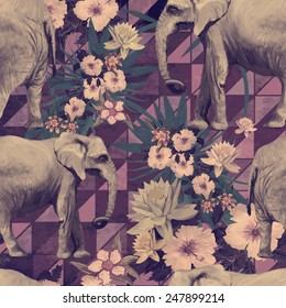 Vintage style seamless pattern with Indian elephants and flowers. Vector. Hand drawn.