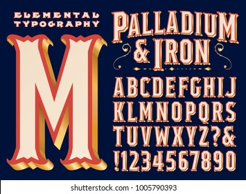 Een vintage stijl bewegwijzering of headline font genaamd Palladium & Iron