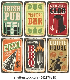Vintage style signs. Retro metal signs vector set. Irish pub, pizzeria, tropical bar, gentlemen s club, barbecue, coffee house. Without drop shadow, transparency and gradients, only fill colors.