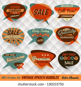 Vintage Style Speech Bubbles Cards