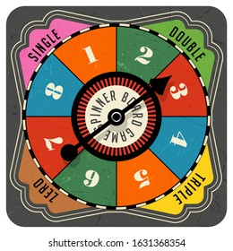 Vintage style spinner for board game with spinning arrow, numbers, and letters. Design elements for web pages, gaming, print, games.