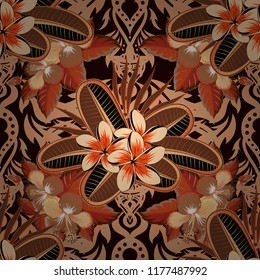Vintage style. Stock vector illustration. Seamless pattern of abstrat plumeria flowers in beige, orange and black colors.