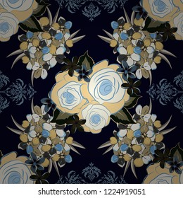 Vintage style. Stock vector illustration. Seamless pattern of abstrat primula flowers in black, gray and blue colors.