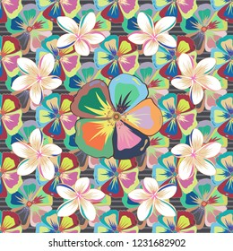 Vintage style. Stock vector illustration. Seamless pattern of abstrat cosmos flowers in white, beige and blue colors.