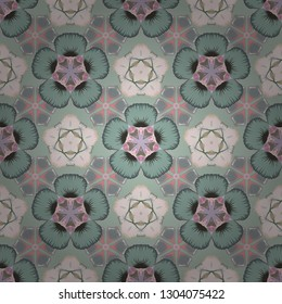 Vintage style. Stock vector illustration. Seamless pattern of abstrat flowers in green, pink and gray colors.
