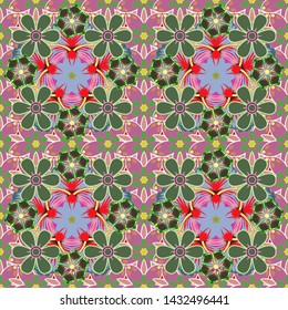 Vintage style. Stock vector illustration. Seamless pattern of abstrat flowers in red, green and pink colors.