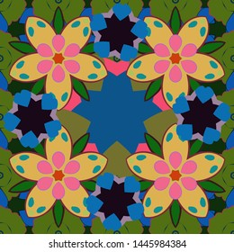 Vintage style. Stock vector illustration. Seamless pattern of abstrat flowers in green, blue and yellow colors.