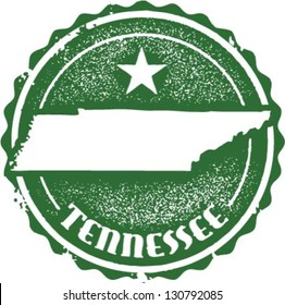 Vintage Style Tennessee USA State Stamp