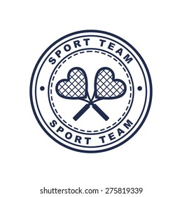 Vintage style tennis label with two heart shaped rackets. Vector logo design template. Concept for sport team, club, chevron, love tennis.