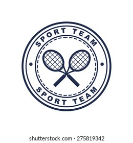 Vintage style tennis label with two rackets. Vector logo design template. Concept for sport team, club, chevron.