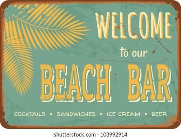 """Vintage style tin sign """"Beach Bar""""."""