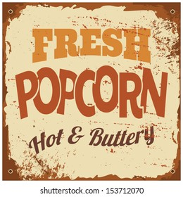 Vintage style tin sign 'Fresh Popcorn'.