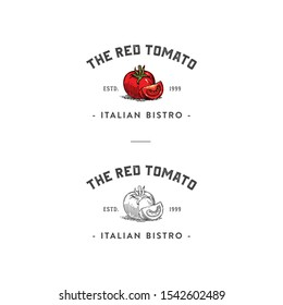 vintage style tomato vector for bistro, cafe, restaurant, lounge, bar. Hand drawn or sketching minimalism style vector illustration.
