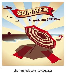 A vintage style tourist poster, with ocean beach and parasols.