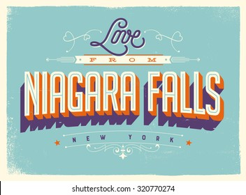 Vintage style Touristic Greeting Card with texture effects - Love from Niagara Falls, New York - Vector EPS10.