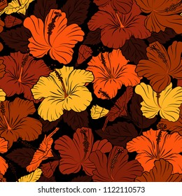 Vintage style trendy print. Exquisite pattern of hibiscus flowers. Beautiful vector pattern for decoration or design. Watercolor seamless pattern with hibiscus flowers in black, orange and brown color