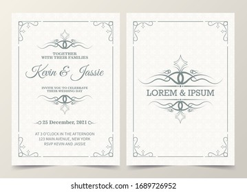Vintage style vector design invitation card with a white background