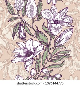 vintage style vector floral seamless pattern with hand drawn flowers and fruits