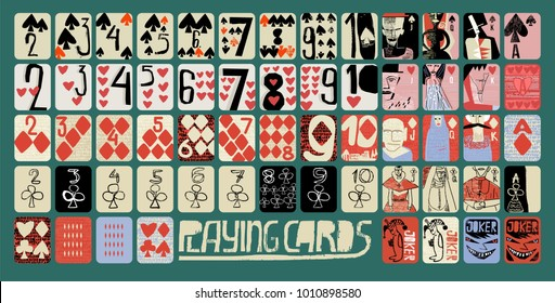 vintage style vector Hand drawn set of playing cards. full deck with numbers, King, queen, jack, jokers and several background for casinos and playing houses