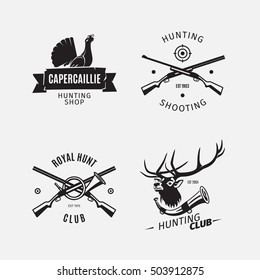 Vintage style vector hunt club logo with wild deer, black grouse and hunting rifle