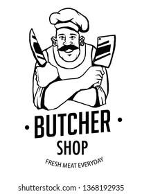 Vintage style vector illustration butcher shop logo and emblem for design