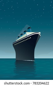 Vintage style vector illustration of giant cruise ship on the ocean at night
