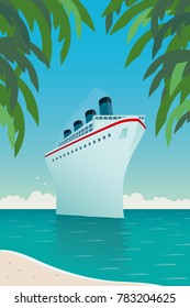 Vintage style vector illustration of giant cruise ship near tropical island